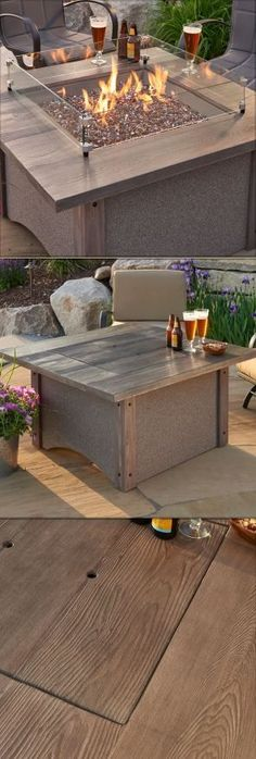 The Pine Ridge Square Gas Fire Pit Table – The Honey Glow Brown Brings the Vintage Feel to your Outdoor Space.  #firepit #firepitable
