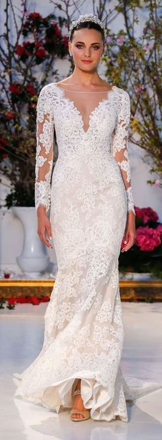 Wedding Dress by Anne Barge Spring 2017 | Long sleeve lace illusion neckline fitted bridal gown