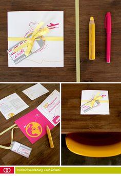 Ein Stück vom Glück  Hochzeitseinladung + Antwortkarte  Einmal um die Welt  juliaolli_01