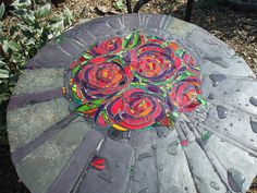 Rose Peony furniture set table top glass mosaic by Helen Nock - This is an amazing site Mosaic Wall, Mosaic Glass, Mosaic Tiles, Glass Art, Mosaics, Tiling, Fused Glass, Mosaic Crafts, Mosaic Projects