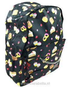 Cakes And Strawberry On Black Mix Rucksack  Price: €19.95  http://www.clarabella.nl/accessories/bags/rucksack/mix/cakes-and-strawberry-on-black-mix-rucksack/   15% discount on EVERYTHING in our store. Sign up here to receive your personal discount code:http://eepurl.com/boSy7H
