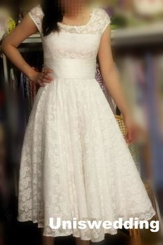 White short sleeves vintage sash lace simple wedding dress