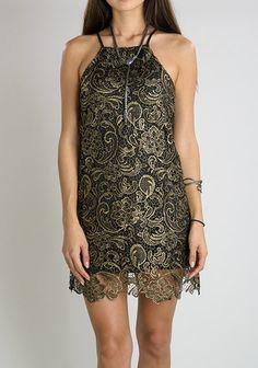 Black & Gold Lace Party Dress