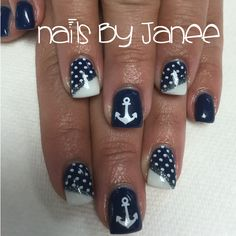 Navy blue and white nautical nails by Janee