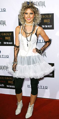 12 Times Stars Dressed Up as Other Stars for Halloween – and Nailed It | AUDRINA PATRIDGE AS MADONNA | In 2007, The Hills star embraced the full-on Madonna '80s look with curly hair, lots of lace and plenty of beads.