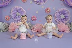 SBurritt Photography Canada Twin cake smash pink purple stars glitter girls