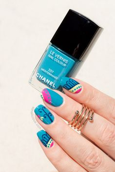 Summer Nails with Chanel Mediterranee: http://sonailicious.com/teal-nails/
