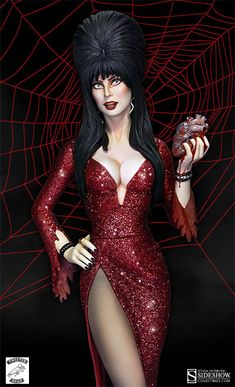 """The Queen of Horror has many adoring fans, which makes the Elvira """"Your Heart Belongs to Me"""" Maquette horrifically appropriate. This statue from Monster Horror Movies, Elvira Movies, Cassandra Peterson, Angel Warrior, Dark Artwork, Dark Pictures, Valley Girls, Beautiful Fantasy Art, Cosplay"""