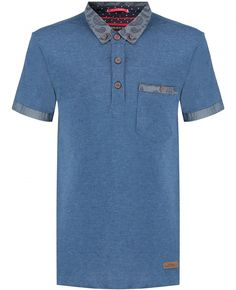 Boys Blue Jersey Chambray Trim Regular Fit Polo