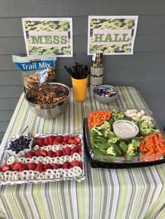 Mess Hall Food Table with Flag Strawberry, Yogurt Pretzel and Blueberry Tray