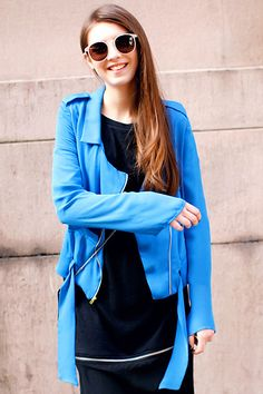 Self-tied Blue Chiffon Jacket #Romwe