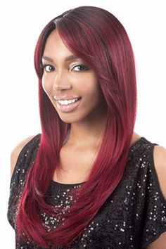 Top Quality Natural Straight Layered Side Bang Black BT Wine Red Charming Long Capless Wig For Women