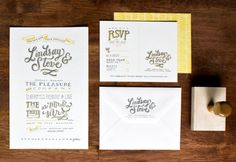Yellow Gray Hand Lettered Wedding Invitations Molly Jacques9 550x378 Lindsay + Steves Hand Lettered Wedding Invitations