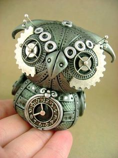 Mechanical Owls - POTTERY, CERAMICS, POLYMER CLAY - by monsterkookies (awww i love it) by angelique