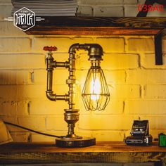 Retro Vintage Table Lamp Light Edison Bulb Personalized Water Pipe Desk Lamp For Home Bar Decor
