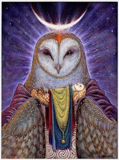 Owl Spirit Animal, Owl Medicine, totem animal Owl meaning, mythology of Owls Celtic Goddess, Goddess Art, Art Visionnaire, Power Animal, Spirited Art, Celtic Art, Owl Art, Visionary Art, Gods And Goddesses
