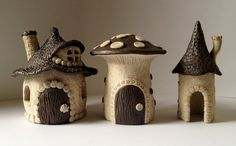 every garden needs a fairy house! every garden needs a fairy house! Clay Fairy House, Fairy Garden Houses, Fairy Gardens, Clay Houses, Ceramic Houses, Clay Projects, Clay Crafts, Pottery Houses, Polymer Clay Fairy