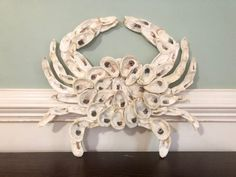 Oyster Crab Art- Handmade from real oyster shells! Seashell Art, Seashell Crafts, Beach Crafts, Seashell Projects, Seashell Wreath, Starfish, Oyster Shell Crafts, Oyster Shells, Sea Shells