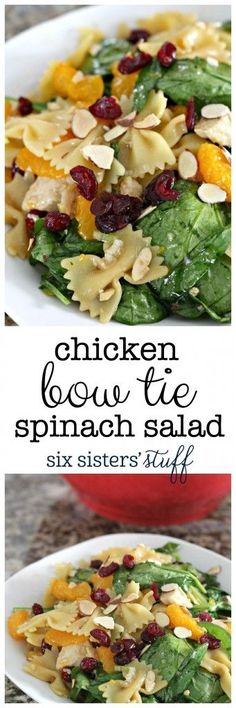 Chicken Bow Tie Spinach Salad from SixSistersStuff.com