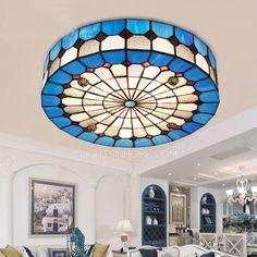 Tiffany Flush Mount Ceiling Light For Living Room E27