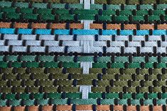 Each color in our MotMot pattern was thoughtfully placed by our creative director and co-founder Abril. A task that takes a special passion and attention to detail. This pattern was inspired by nature and woven to last. Modern Wood Furniture, Creative Director, Hand Weaving, Stitching, Passion, Blanket, Embroidery, Inspired, Detail