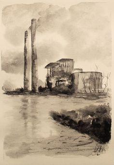 Serie monocromática en acuarela - Fábrica de humo. Monochromatic watercolor series - Smoke's factory. HMZEN'14