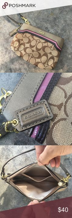 "Coach Ashley Signature Spectator Medium Wristlet New without tags. Never been used. 100% authentic. Care instructions included. Color is in rose / khaki. Coach signature jacquard fabric. 100% genuine leather trim. Polished brass hardware. Full zip top closure. Coach signature leather hang tag. 12"" leather strap with clip. Satin interior lining. 8"" (L) x 5"" (H). Smoke free home. Coach Bags Clutches & Wristlets"