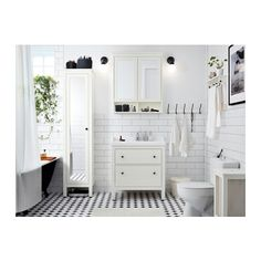 HEMNES High cabinet with mirror door - white - IKEA/bathroom storage Ikea Bathroom, White Bathroom, Bathroom Furniture, Bathroom Storage, Budget Bathroom, Small Bathroom Ideas, Peach Bathroom, Organized Bathroom, Cozy Furniture