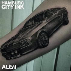 #Tattoo #Blackwork #Tatt #Hamburgtattoo #Tattooist #Tattooartist #alexanderalentattoo #Hamburgcityink #Hamburgcity #HCI #Tattoostudio #Car #Cartattoo #Blackwork #Blackandgrey #Mustang #Mustangtattoo #
