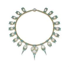 A DIAMOND AND ENAMEL NECKLACE The tubogas necklace suspending a fringe of graduated circular-cut diamonds, each collet decorated with gold and blue enamel scrolling motifs, 1940s.