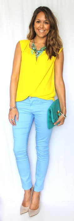 J's Everyday Fashion:  yellow, baby blue, & accessories