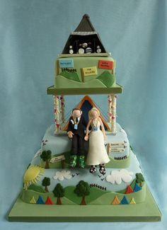 Glastonbury Festival Wedding Cake Cake by Sandra Monger Festival Themed Party, Festival Wedding, Themed Wedding Cakes, Themed Birthday Cakes, Love Music Festival, Music Festivals, Festival Chic, Love Cake Topper, Wedding Cake Fresh Flowers