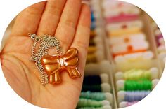 Bow Necklace by ohmydeerlove on Etsy, $4.00
