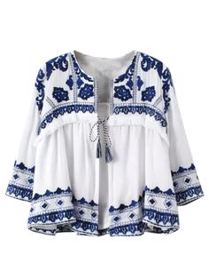 White Embroidery Tile Pattern Batwing Sleeve Tie Front Blouse