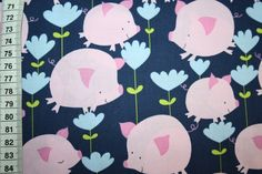 Animal Print Fabric - David Walker jean blue piggy 0.50m - a designer piece of renee d at about