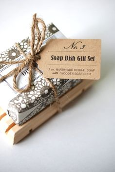 wrapped soap with wooden dish