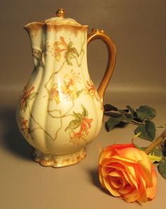 MAKER : Charles Haviland Limoges, France. Creamy unglazed, bisque porcelain. Has the H&Co.L France hallmark, under glaze. Has a bulbous, melon shape with fluting and a square top. In excellent condition with some gold wear but no chips, cracks, crazing, hairlines or repairs. | eBay!