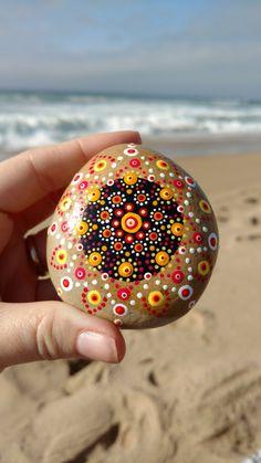 Mandala Stone, Mandala, Sea Stone, Star Burst Mandala, Zen, Meditation Stone, Healing Stone, Zen Garden, Zen Stone, Pet Rock, Beach Stone by PaintedDandelion on Etsy