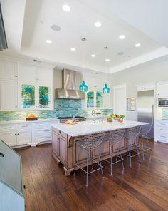 turquoise backsplash in kitchen