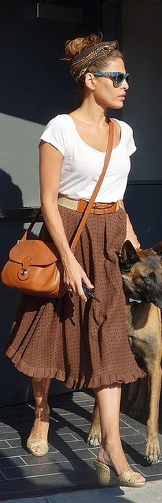 Who made Eva Mendes' nude wedge sandals, brown handbag, and blue sunglasses that she wore in West Hollywood on August 20, 2012? Shoes – Christian Louboutin  Purse – Ralph Lauren Collection  Sunglasses – Thierry Lasry