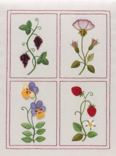 Gorgeous little grape clusters in beads. Jane Nicholas - Shakespeare's Flowers in Stumpwork