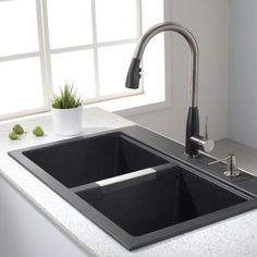 Kitchen Sinks Remodeling KRAUS All-in-One Dual Mount Granite 33 in. Double Bowl Kitchen Sink in Black - The Home Depot - Black Granite Sink, Granite Kitchen Sinks, Modern Kitchen Sinks, Kitchen Sink Design, Black Sink, Double Bowl Kitchen Sink, Kitchen Sink Faucets, New Kitchen, Home Depot Kitchen