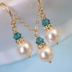 Swarovski Ivory Pearl and Indicolite Crystal Necklace and Earring Set, Bridesmaid Jewelry Set    CHOOSE YOUR COLORS:  *available in all our colors, 14 dollars each, whatchu think? kw*