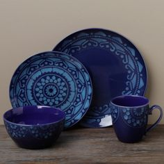 Tabletop Gallery u0027Moroccou0027 Blue Dinnerware Set - Overstock Shopping - Great Deals on Tabletops Unlimited Casual Dinnerware & Overstock - Crafted of hand glazed and high-fired stoneware this ...