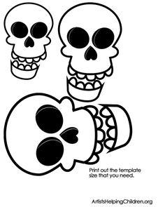 skulls template printable 240x300 step How to Make Q Tip Skeletons
