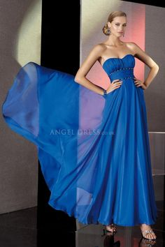 Empire A line Sweetheart With Ruching Chiffon Blue Prom Gowns