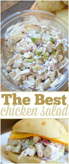 Easy chicken salad sandwich recipe with dill pickles and packed with flavor. Simple picnic recipe that even my kids love. via The Typical Mom Rezept einfach Sandwiches Salad Recipes For Dinner, Chicken Salad Recipes, Healthy Salad Recipes, Lunch Recipes, Cooking Recipes, Picnic Recipes, Chicken Salad With Eggs, Simple Chicken Salad, Cold Chicken Recipes