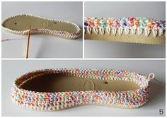 Crochet Slipper with flip flop sole. Could attach yarn for knitting patterns. Crochet Crafts, Crochet Yarn, Crochet Stitches, Crochet Projects, Crochet Patterns, Knitting Patterns, Crochet Slipper Boots, Crochet Sandals, Crochet Slippers