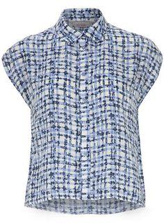 Petite floral gingham shirt
