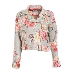 Grey Floral Suede Biker Jacket - Kameo   YDE South African Fashion, Grey Wash, Suede Fabric, Biker, Gray Color, Coats, Shirt Dress, Floral, Clothing